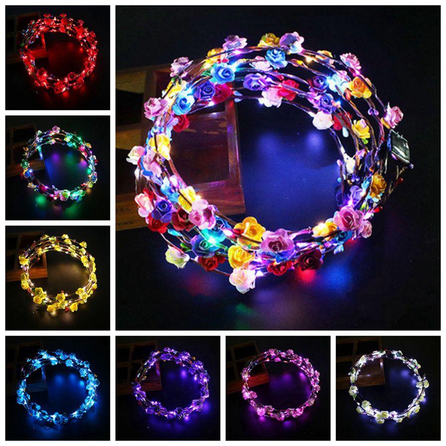 LED Işık Yukarı Çelenk Kafa Kadınlar Kızlar sönen Şapkalar Saç Aksesuarları Konseri Glow Parti Cadılar Bayramı Noel hediyeleri RRA2074 Malzemeleri