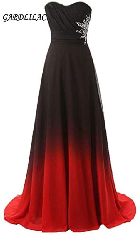 Gardlilac 2020 여자의 연인 긴 이브닝 드레스 쉬폰 파란색 검은 색 푸른 색 4 색 그라데이션 정장 댄스 파티 파티 드레스