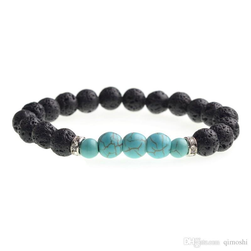 Perles de lave hommes et femmes 8mm rock perles doubles yoga bracelet de mode stretch bracelet pop bijoux