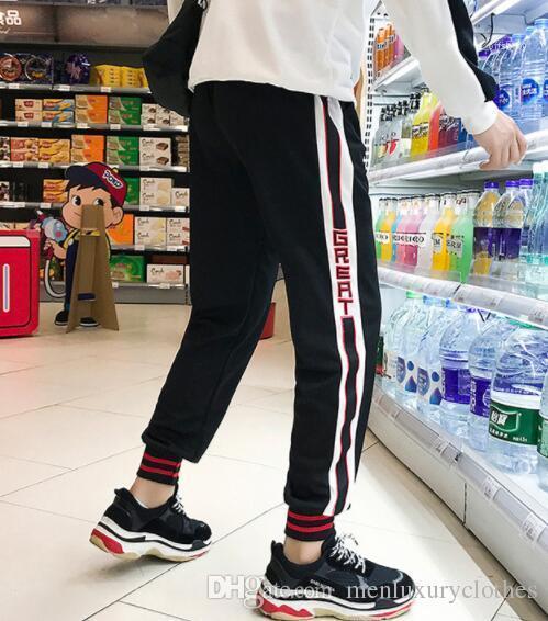 Pantaloni a righe moda maschile Adolescente del ragazzo vestiti lunghi dei pantaloni della matita del progettista del Mens Jogger