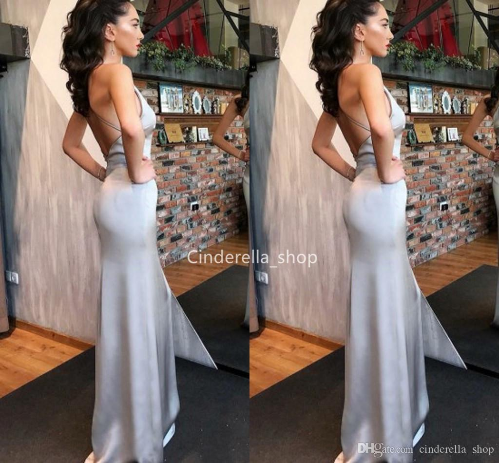Silver Halter Mermaid Evening Dresses Long 2019 Corset Back Celebrity Dresses Robes Cheap Prom Gowns Plus Size