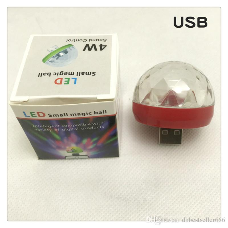 LED Mini Magic Ball Lamp Portable RGB Small USB Rechargeable Voice Control Magic Ball Lamps Disco Ball Light Party Lamp