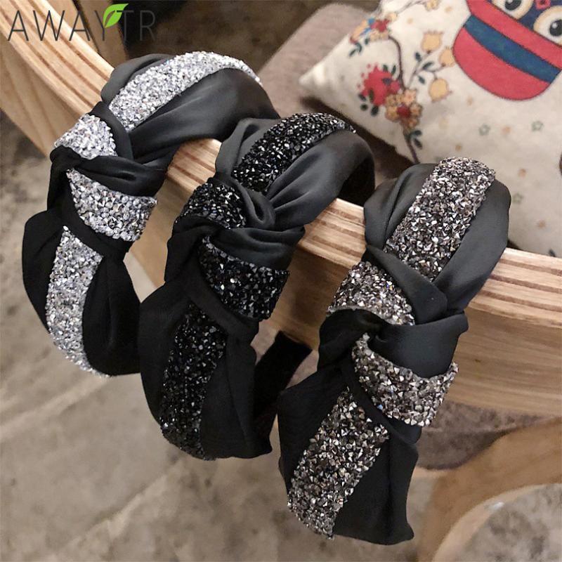 Las mujeres Hairbands anudada Las vendas Rhinestone cristalino anchas bandas del pelo de las muchachas de la vendimia del lazo trenzado de Headwear de los accesorios del pelo