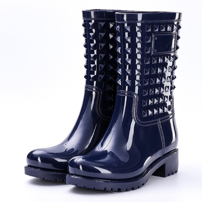 Fashion high barrel rivet rain shoes female adult anti-slip water boots set shoes rubber shoes PVC rain boots big size 36-42