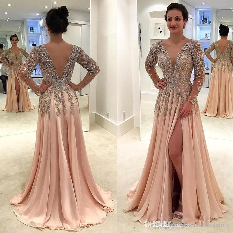 Luxury Sexy Long Split Prom Dresses Deep V Neck Beaded Stones Long Sleeves Dress Chiffon Backless Sweep Train Evening Party Gowns BA8951