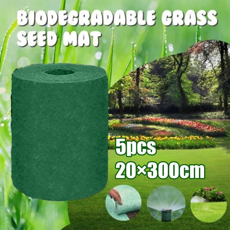 محفظة 5pcs العشب البذور حصيرة البذور كاتب مات 10M × 0.2M العشب السجاد كاتب حديقة اللوازم منصات D6