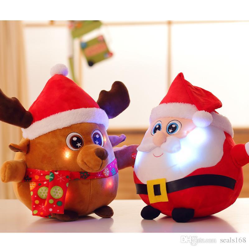 Led Освещенные Рождество плюшевые куклы для Санта-Клауса и Elk Reindeer With Music Soft мультфильм Фаршированные куклы игрушки Подарочные Домашнее украшение HH7-1901