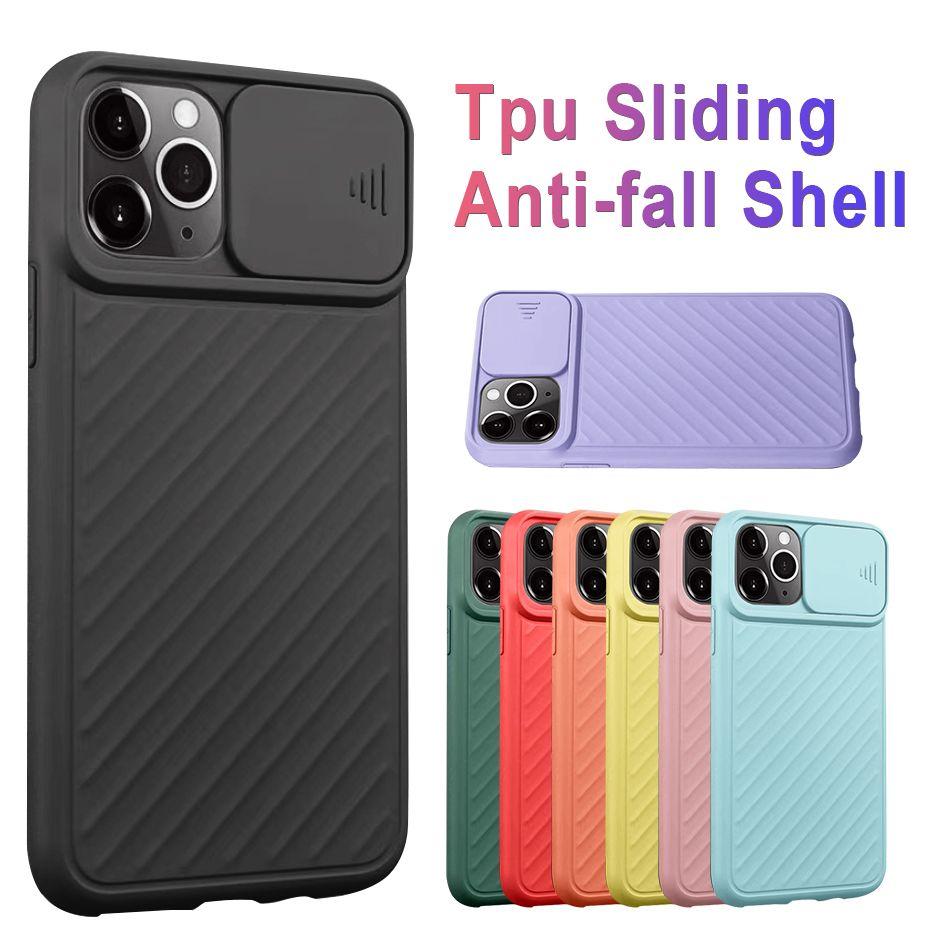 Kamera Koruyucu Silder için iPhone ile Silikon Kılıf Bireysel OPP Bag ile 11 Pro Max Yumuşak TPU Kaymaz Doku Akıllı Cep telefonu Kapaklar