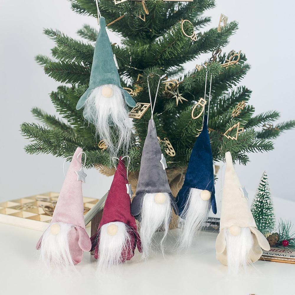 12 @ meçhul uzun sakal yaşlı adam bebek kolye Yeni Sevimli Kırmızı Ve Yeşil Uzun Noel Bebekler Hediye Dekorasyon Doll Noel Ağacı
