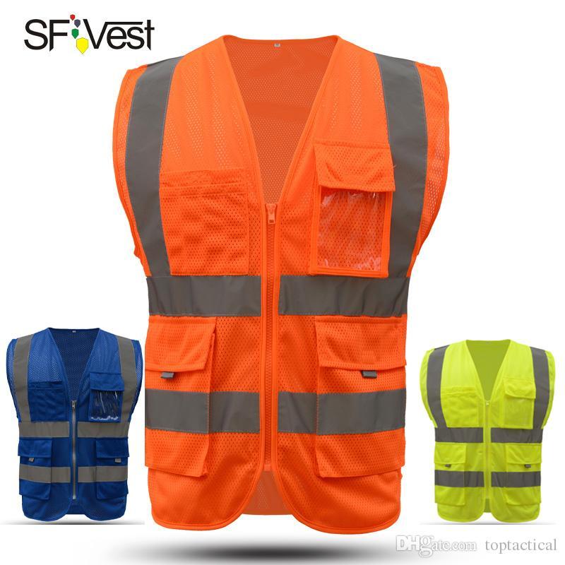 SFVest Trafik Güvenliği Inşaat Mesh Net İcra Taktik Yelek Yüksek Görünürlük Çalışma Yelek Yansıtıcı Güvenlik Üst Turuncu Sarı Bulle