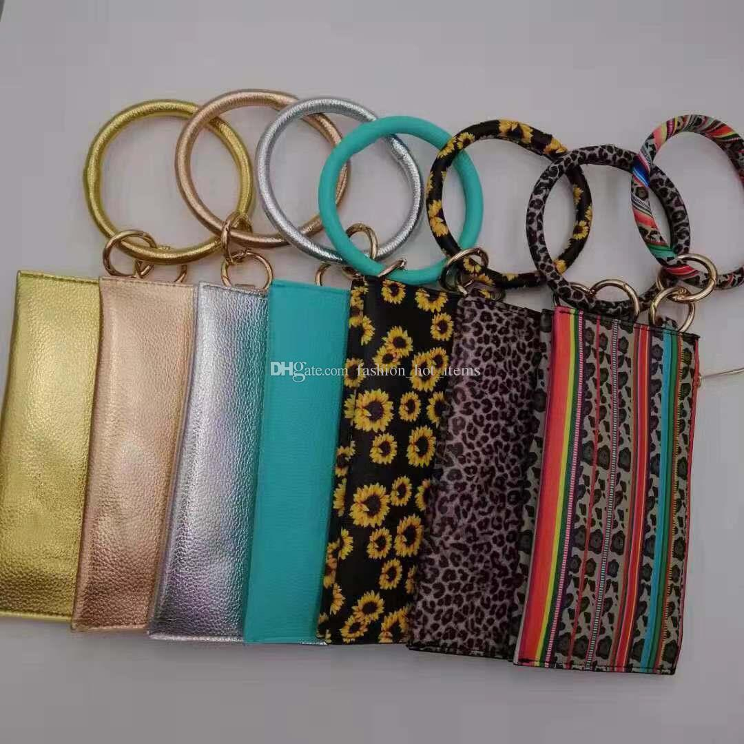 Sunflower Sublimation Bracelet Keychains with wallet New Color Leather O Circle bracelet with purse 13 colors