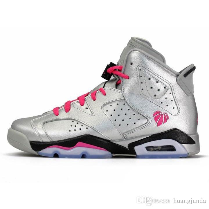 Womens Jumpman 6s retro basketball shoes aj6 Valentines day Silver Pink Multi Reflective 3M kids new lebron james sneakers tennis with box