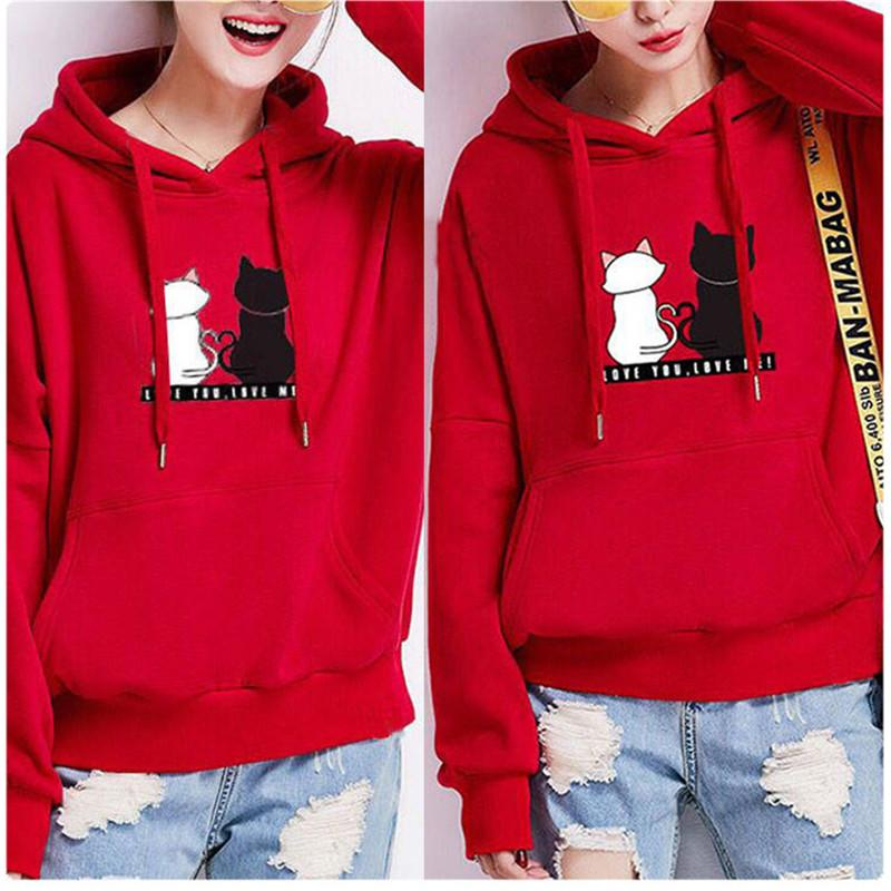 Frauen Herbst-Winter-Katzen-Druck Hoodies rosa Sweatshirt Winter Girl Baggy Pullover Pullover Tops Anzug Hoody Sudadera Mujer