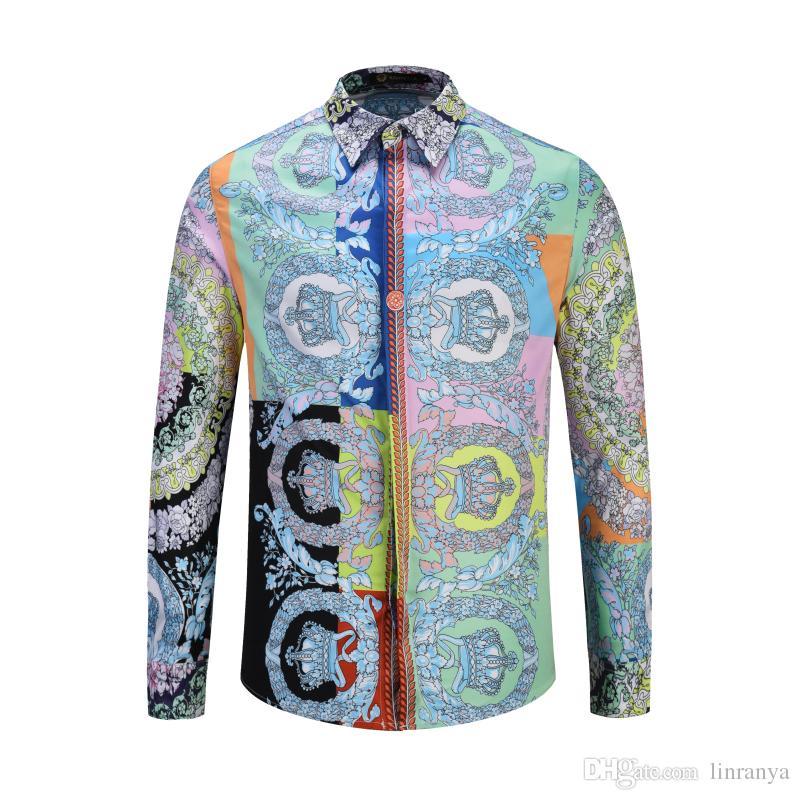 Amazon özel yeni uzun kollu gömlek erkekler için Avrupa tarzı taç dikiş gömlek çapraz sınır erkek bir nesil giymek