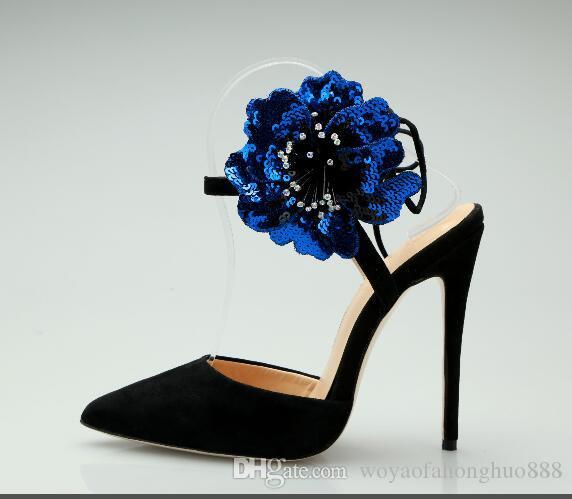 Estilo clásico de gamuza de primavera y verano Lidies sandalias de tacón de aguja con cordones flores vestido zapatos mujeres fiesta cómoda boda sandalias