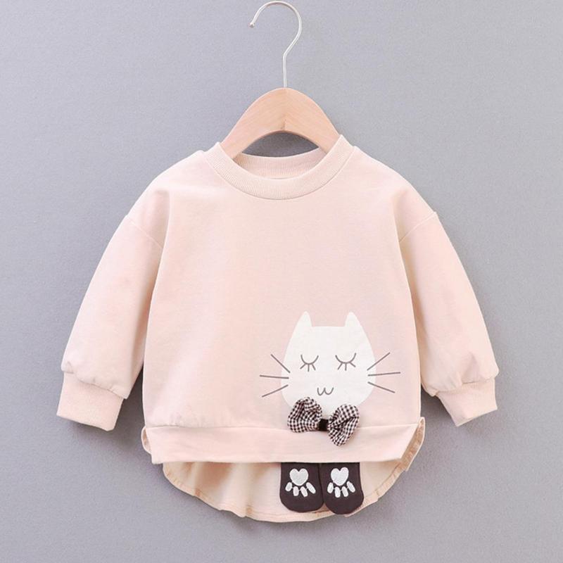 Winter Collar Moda Jerseys Chica Ronda de Otoño caliente de empalme manga larga de Deportes Dibujos de algodón sudaderas con capucha ropa de los niños