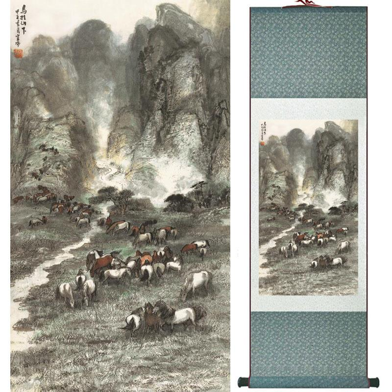 Pintura del arte del caballo en arte de la pintura china tradicional, Pictureltw121517 de calidad superior Decoración de la oficina en casa