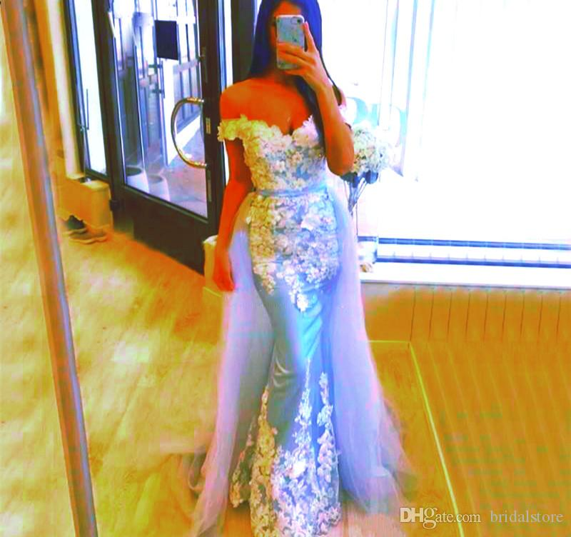 Beautiful Blue Mermaid Prom Dresses With Detachable Train Off Shouler Long Formal Evening Gowns Lace Tulle robes de caftan abaya dubai Dress