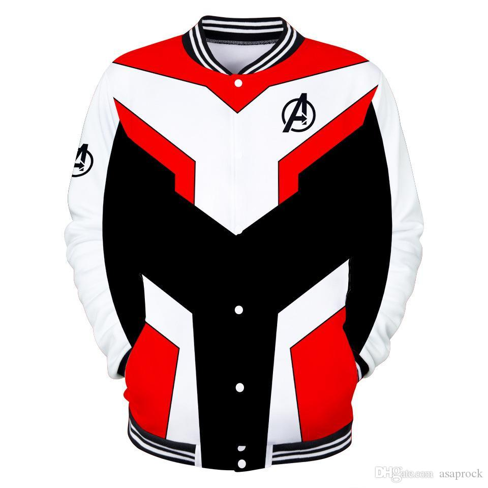 Avengers Endgame Mens Jacket Mens del rivestimento del vestito sottile rivestimento sottile 3D Stampato O-collo uniforme Outwear baseball di modo per trasporto
