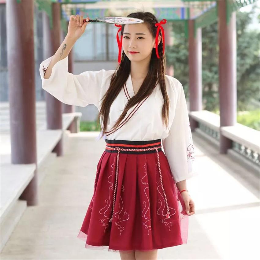 Летняя женщина Японской Традиционных платьев Вышивки Древней Мода Кимоно девушка Японского стиль Одежда Нижнее Узелок Юбка