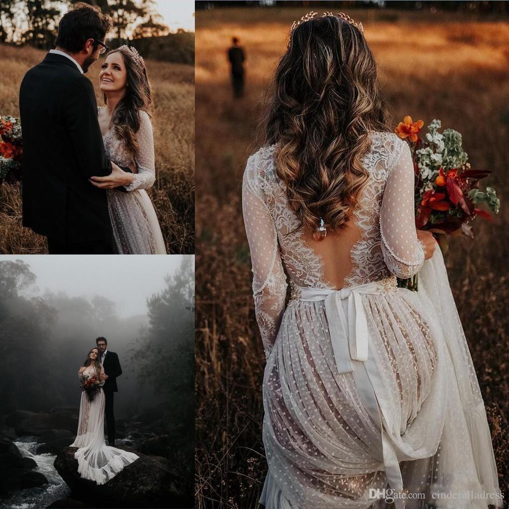 2020 sexy scollo a V in pizzo appliques abiti da sposa bohemien con maniche lunghe backless sweep treno boho beach country abiti da sposa plus size