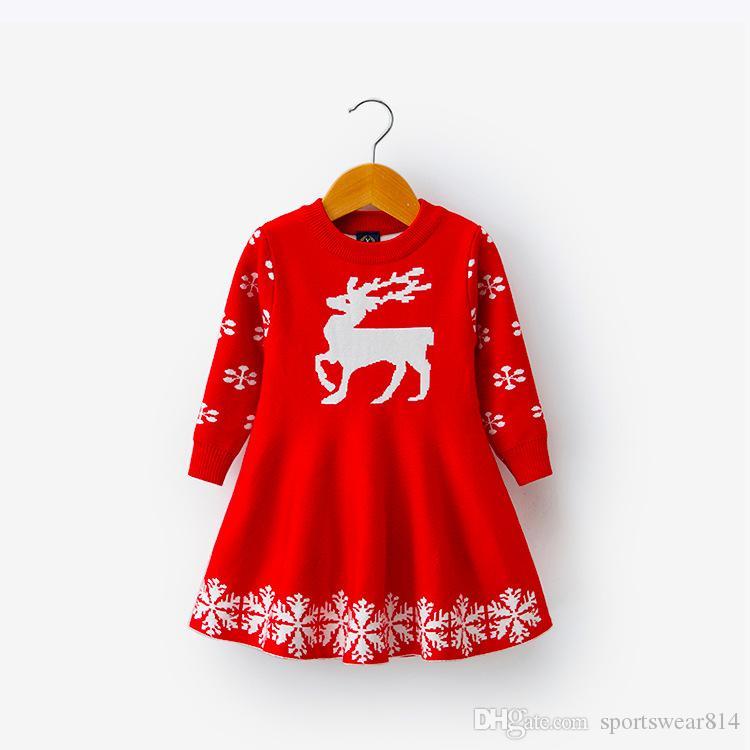Bambini Abiti per ragazze a maniche lunghe dei cervi del fiocco di neve stampa del vestito nuovo anno costume principessa Dress bambini Natale Abbigliamento Vestidos