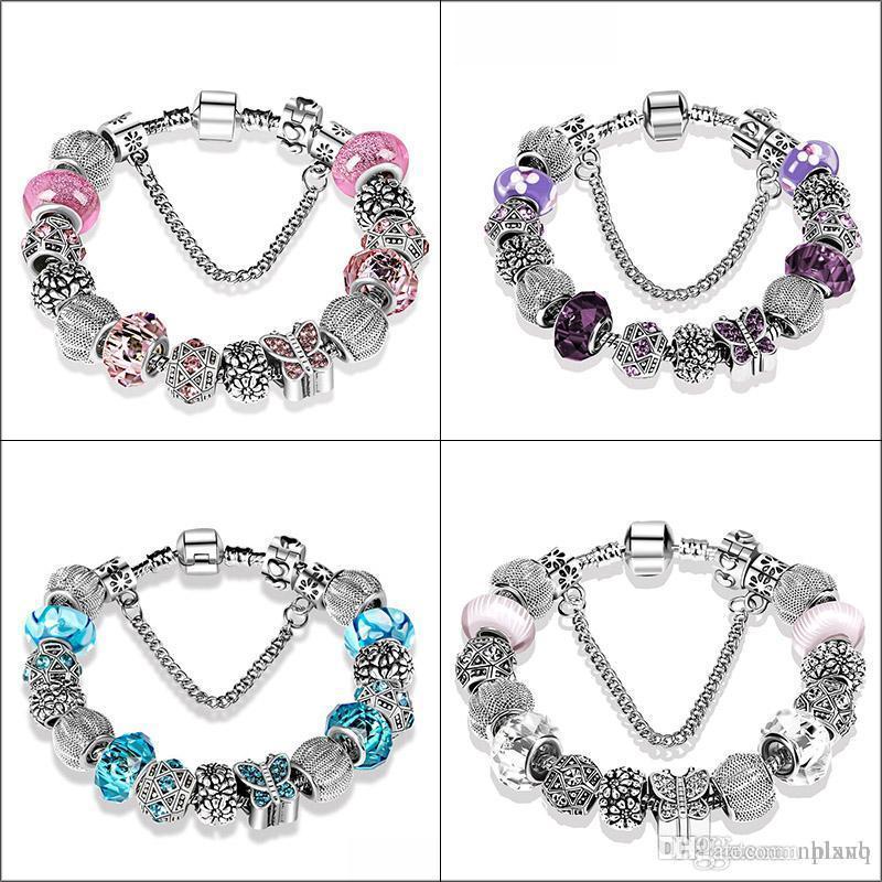 مجوهرات موضة جديدة ... ... كريستال مورانو ... ... أساور الزجاج ... ... أساور خرز فراشة سوار للنساء بالشعار