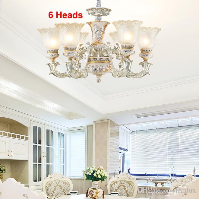 European style luxury vintage resin chandelier lighting glass chandelier lights retro led pendant lamps for living room bedroom