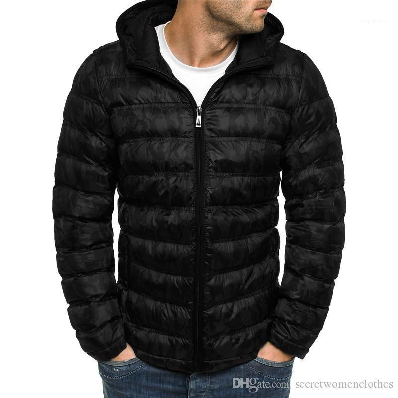 Designer incappucciato allentato cardigan parka cappotto casuale Mens stampata verso il basso Inverno Mens