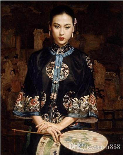 Handpainted & HD Printed Art Oil Painting Chinese Qing Dy noblelady portrait High Quality Canvas Home Wall Decor Multi Size l28 200315