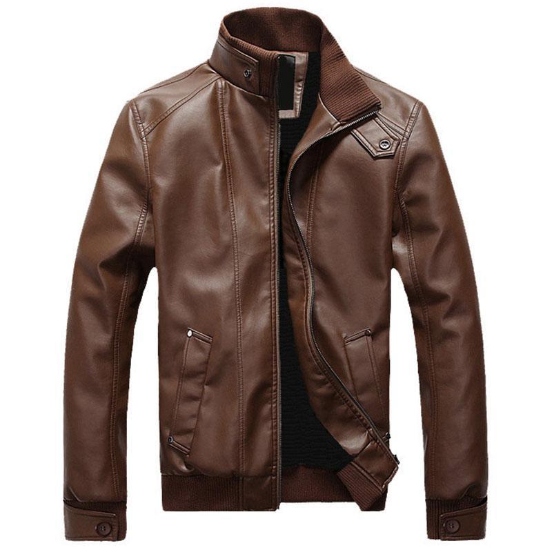 Giacca in PU per gli uomini 2020 New Spring Abbigliamento Moto rivestimento sottile del collare del basamento casuale outwear Overiszed cappotto con le tasche