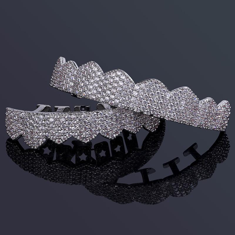 Monili di Hip Hop Mens diamante Dientes Grillz denti d'oro d'argento dal design di lusso fuori ghiacciato Hiphop Griglie Rapper Uomo Accessori Moda Jewlery