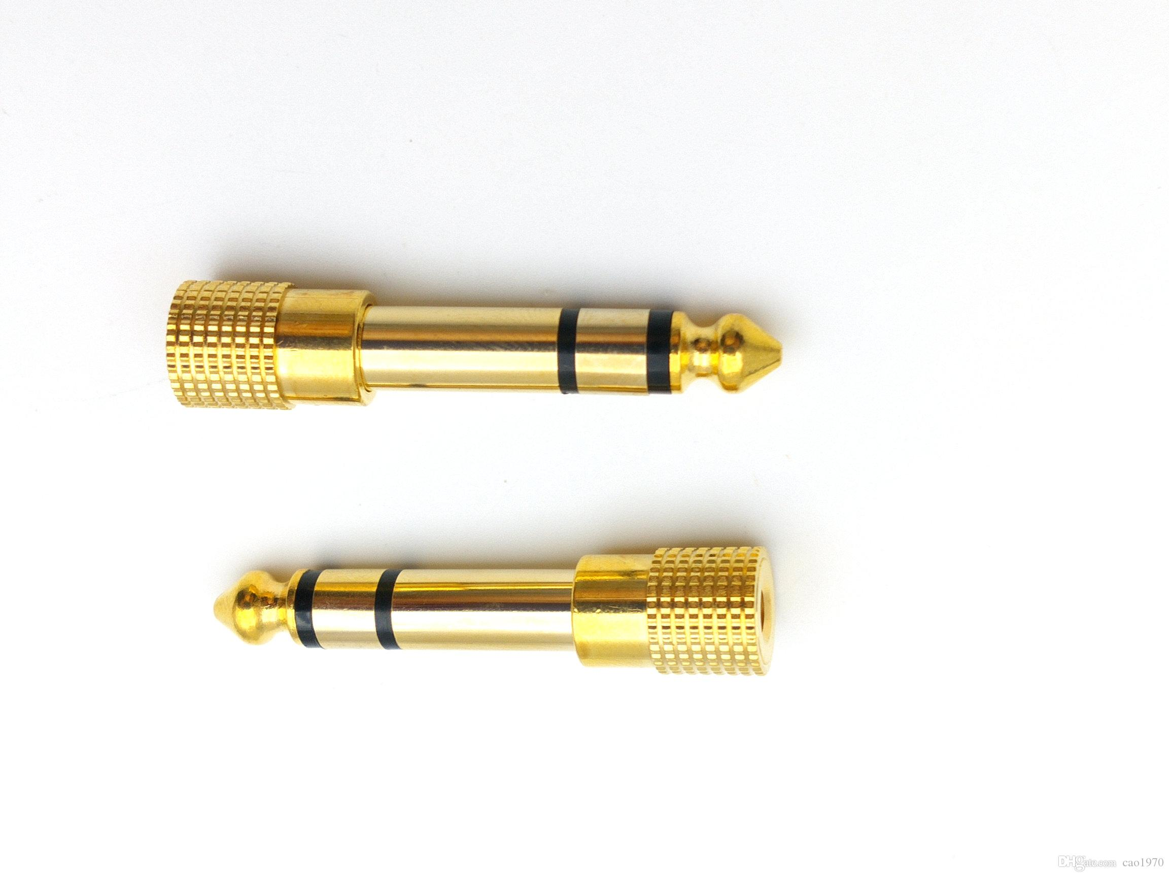 """50pcs Adapter gold plug audio jack TRS 1/4 """" 6.3mm to 1/8 inch 3.5mm"""
