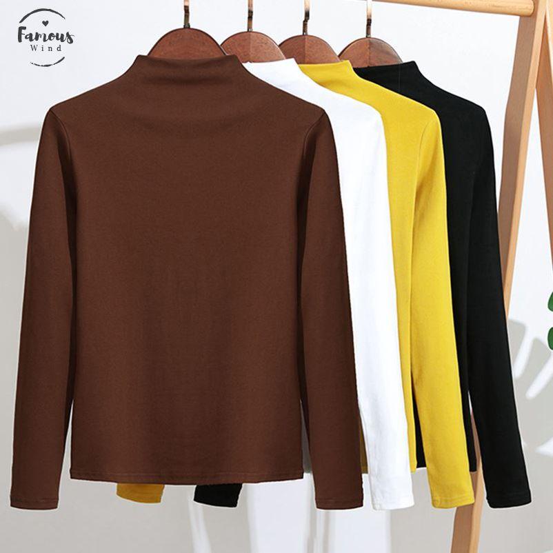 Vrouwen Katoenen camiseta 2019 Lente Otoño Lange Mouw Top Tee Shirts Corea del sólido ocasional camiseta Slim Fit Camiseta Dames