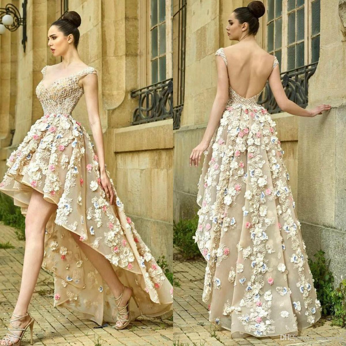 Gorgeous High Low Prom Dresses 3D Flower Appliqued Crystal Beads Lace Evening Gowns Illusion Organza Women Special Occasion Plus Size Dress