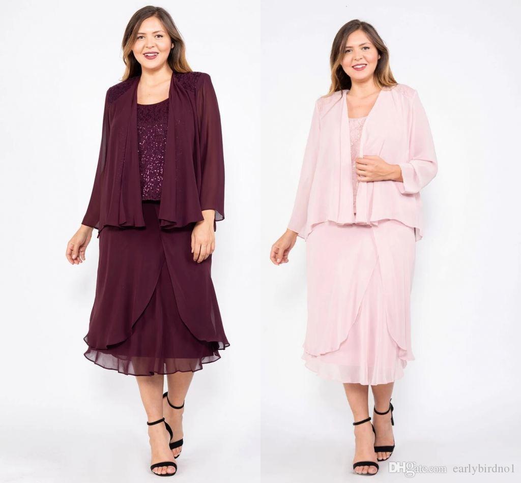 Burgundy Lace A-line Mother Of The Bride Dresses Cheap Short Chiffon Mother Formal Dresses Two Pieces Plus Size Eveninfg Prom Dresses
