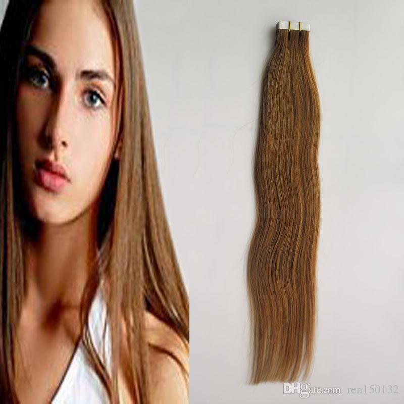 Remy fita de cabelo em extensões do cabelo humano 10 a 24 polegadas 40pcs 100g reto de seda cabelo Hairpieces reto trama da pele