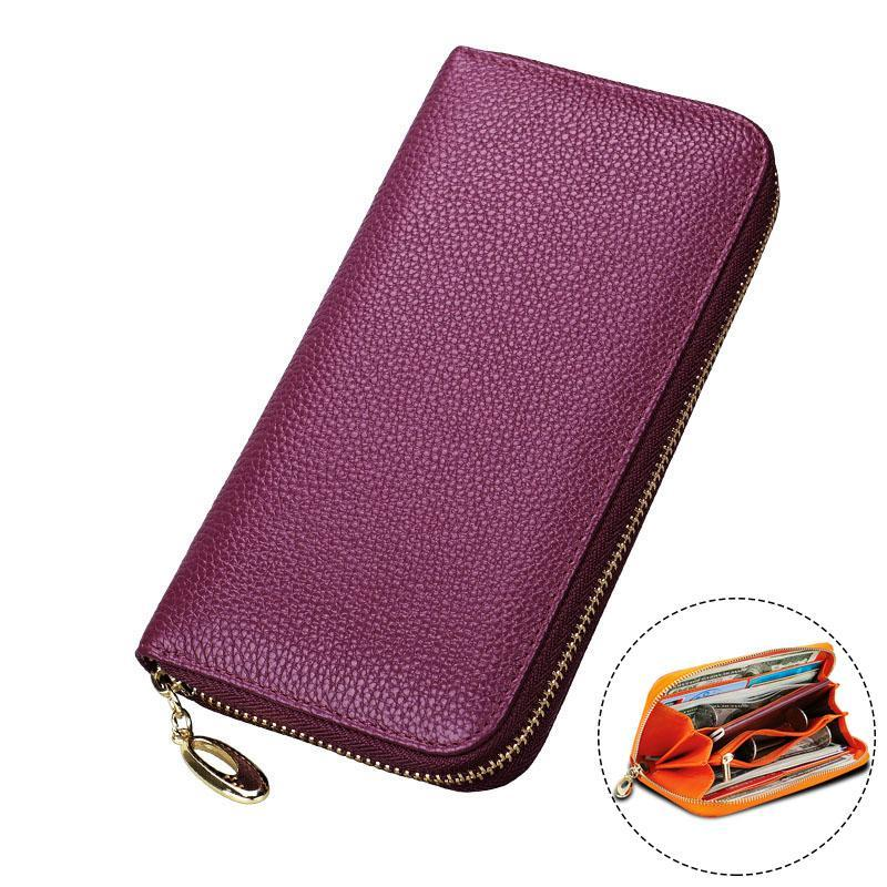 Mermaid Scales Womens Genuine Leather Wallet Zip Around Wallet Clutch Wallet Coin Purse