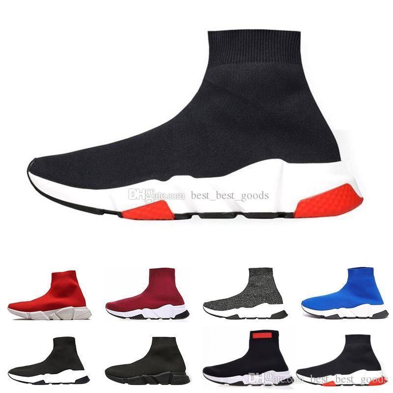 2019 Designer Männer Frauen Speed Trainer arbeiten Marken-Luxus-Socken-Schuhe schwarz weiß blau Glitzer Flache Herren Sneaker Runner Turnschuhe Größe 36-45