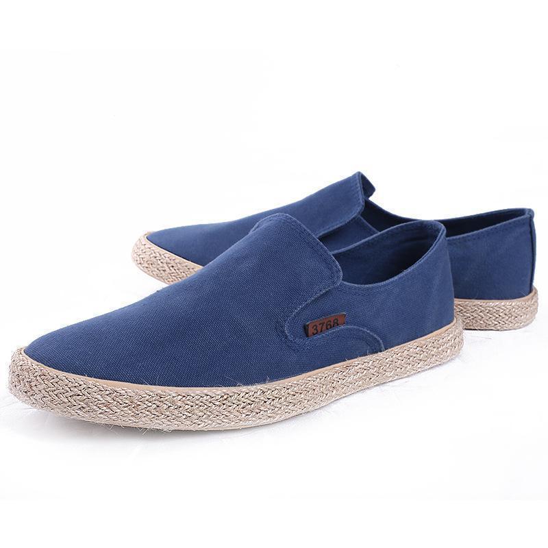 캔버스와 LISM 2018 새로운 캐주얼 신발 남성 로퍼 봄 플랫 통기성 얕은 로프 빛 신발을 낮은 슬립