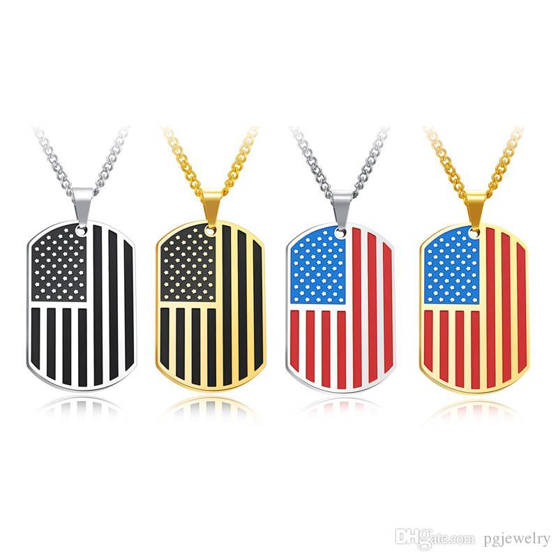 Chegada nova Criativo bandeira Americana cartão Militar pingente de Colares de Aço Inoxidável fashon Jóias fazendo para homens presentes frete grátis GX1236