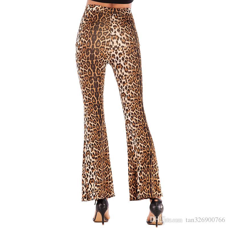 Avrupa ve kadın patlamalar Amerikan 2019 yaz ince zayıflama leopar parlaması pantolon kadın yüksek bel geniş bacak pantolon