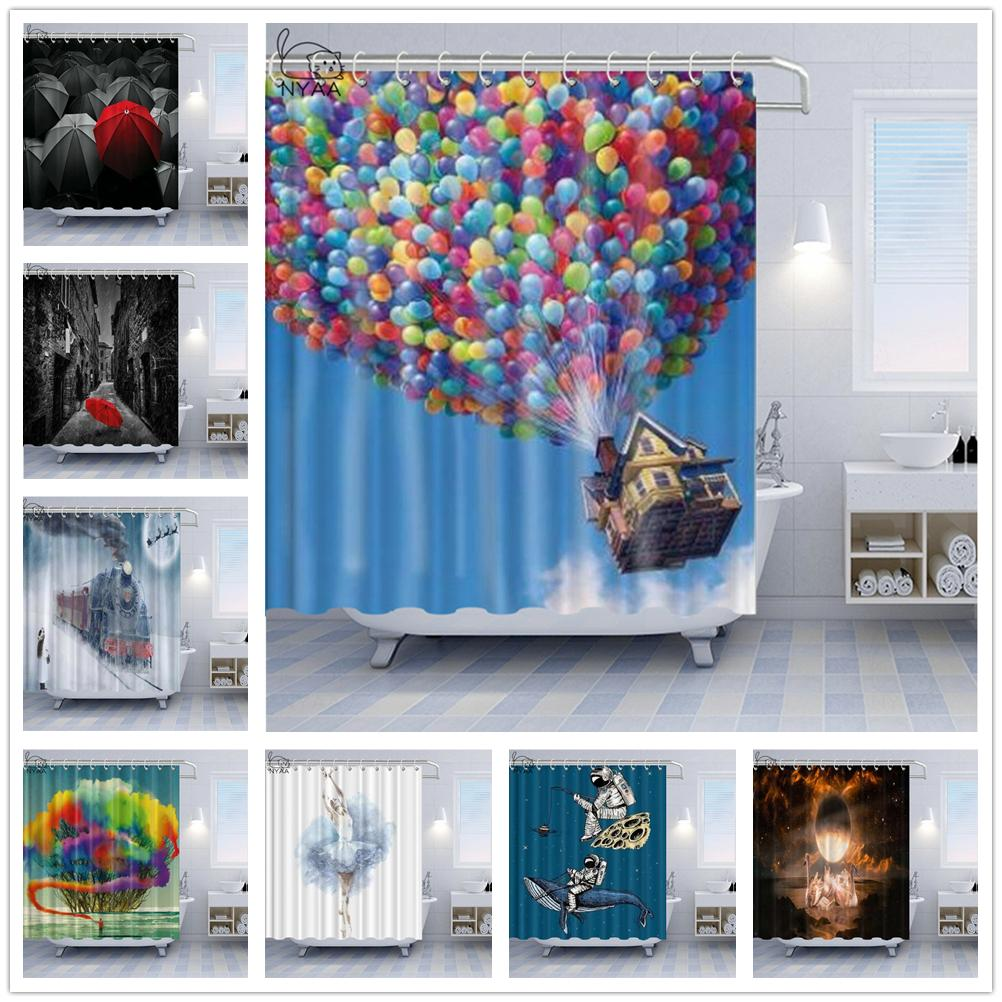 Red Umbrella Artistic Shower Curtains Colorful Smoke Balloons Fly With The House To The Sky Personality Bathroom Bath Curtain Decorations