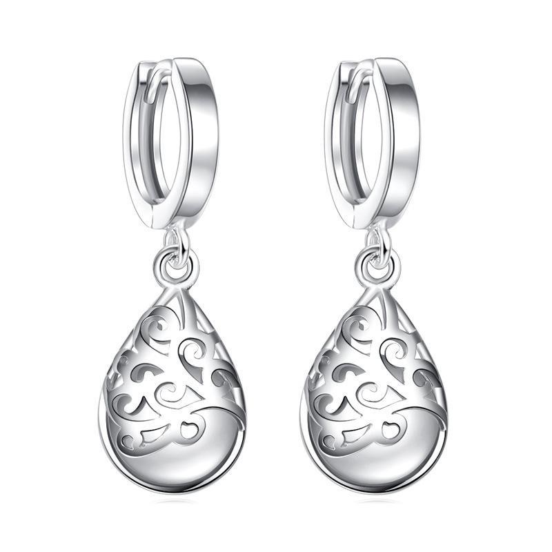 925 moda de plata Natural Opal Ladies 'pendientes de gota joyería regalo de cumpleaños venta al por mayor oro blanco plateado J91