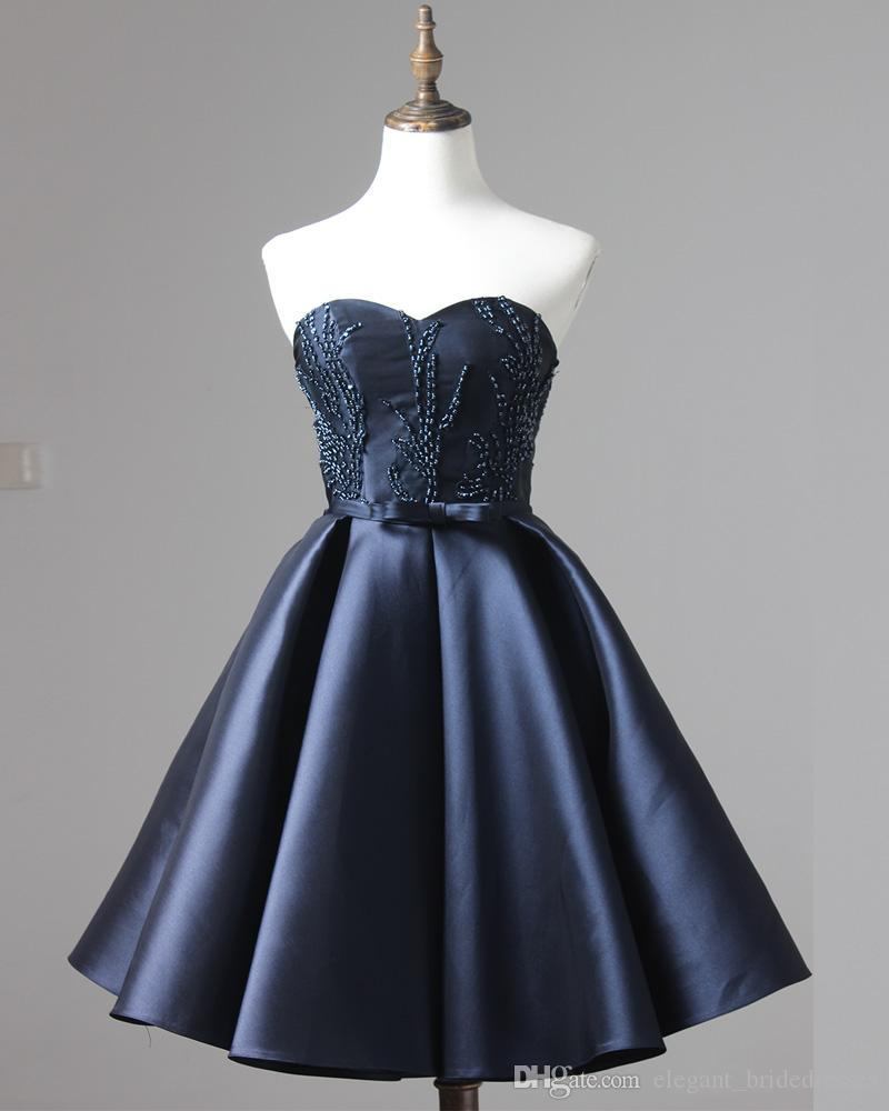 Dark Blue Pageant Evening Dresses Women's Beading Short Ball Gown Bridal Special Occasion Prom Bridesmaid Party Dress Graduation Dresses
