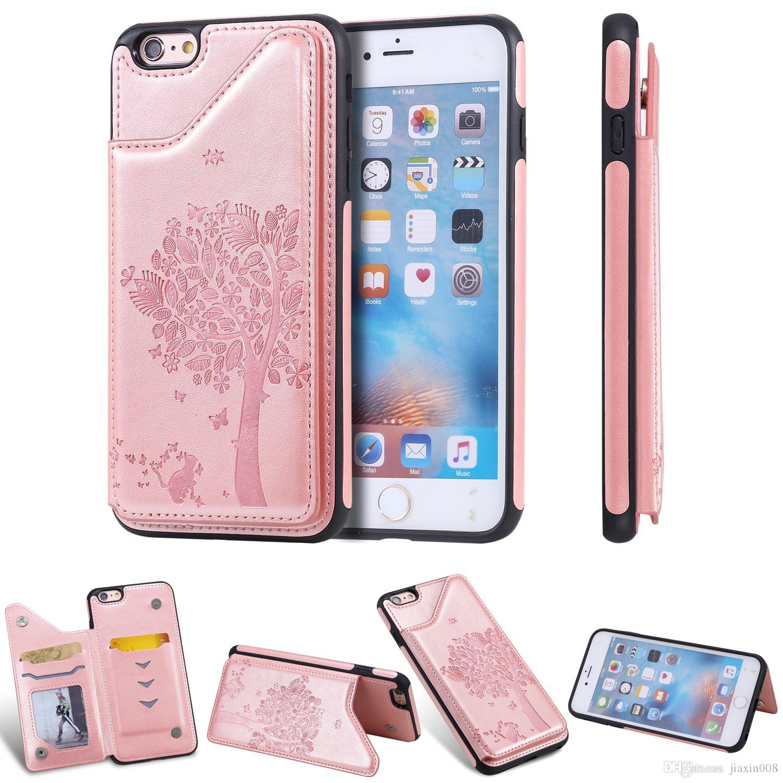 PU-Leder-Mappen-Kasten für iPhone 6 6S / 6 Plus / 6S Plus-Stoß- Card Slot Ständer Embossing Kratzbaum Telefon Cover-Rückseite