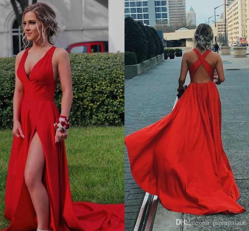 Compre Encantadores Vestidos Rojos De Baile Sexy Criss Cross Correas Barrido Del Lado Del Tren Vestidos Largos De Noche Vestidos Largos De Fiesta