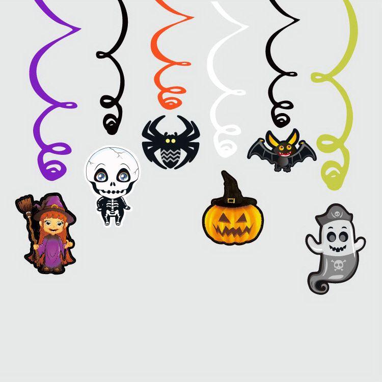 6PCS / 설정 만화 할로윈 장식 거미 마녀 호박 펜던트 나선형 펜던트 파티 유령의 집 끊기 화환