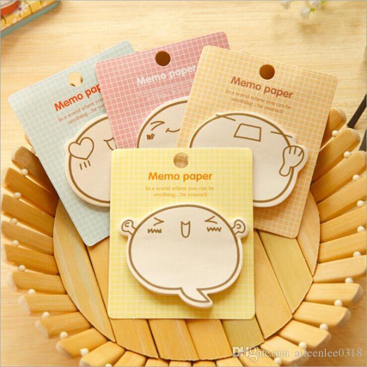 Factory make multi colors lovely cartoon faces gift notes pads sticky notes for young people