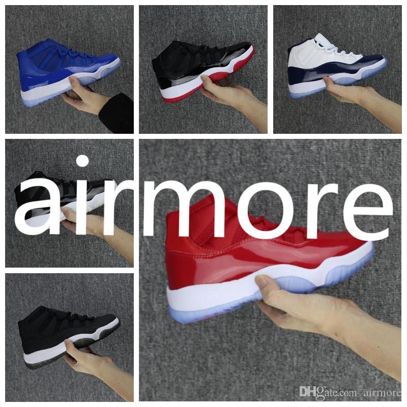 Nike Air Jordan Original AJ AJ11 11S Mens ao ar livre Sapatos AirsTop Alta E Baixa Triplo Branco Vermelho Ginásio Preto Stingray OVO Meia-noite Da Marinha Criada Designer Sneakers